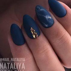 Dark Blue Matte Nail Design for Almond Nails