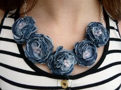 Declaración del dril de algodón joyería denim azul cuarzo rosa collar Blue jeans joyas flor collar textil mujer collar de regalo para las mujeres
