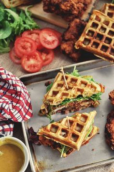 fried chicken waffle sandwiches with maple honey mustard, bib lettuce, and heirloom tomato