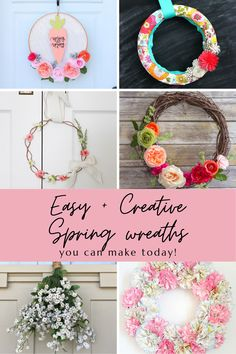 Grab your wreath forms and your glue gun to recreate these DIY Spring inspired wreaths that will have your front door screaming Spring in no time! Diy Spring Wreath, Fall Wreaths, Spring Crafts, Easter Craft Activities, Easter Crafts, Wreath Ideas, Diy Wreath, Diy Craft Projects, Diy Crafts