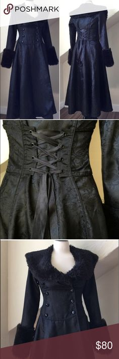Lip service Victorian Brocade Corset dress coat S Beautiful Black Brocade and faux fur Victorian Dress or riding coat. Huge fur collar and cuffs. Hourglass fit. Excellent condition size small lip service Jackets & Coats