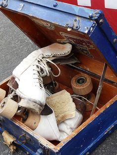 old roller skates in a skate box