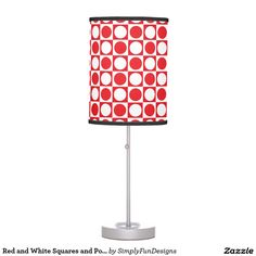 Red and White Squares and Polka Dots Table Lamp