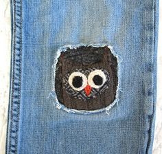 Owl patch for hole in knee You know I had to pin this! Put. A. Bird. On. It.