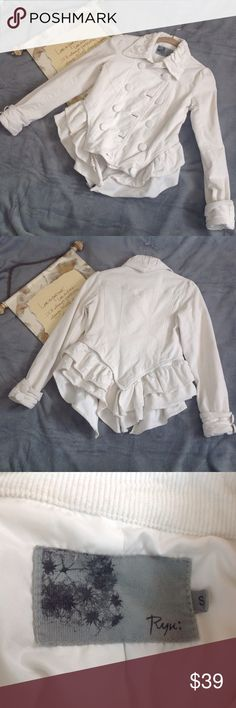 """Ryu Cream Corduroy Double-Breasted Jacket Small Ryu double-breasted cream, corduroy jacket. 10 large buttons on front, and 2 on each sleeve. Detachable peplum bottom. Fully lined. Great for casual wear, or dress it up with a statement necklace and heels. Lying flat, approximate measurements are: bust 17""""; waist 15"""". (C0314-055) Ryu Jackets & Coats"""