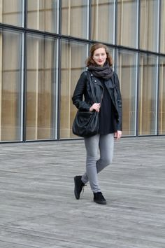 All black Parisian look, black leather jacket and Vans