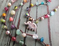 Ultra Dainty lucky crochet necklace Tiny Treasures by slashKnots, $88.00