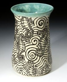 Bass River Pottery   Sgraffito -- Nice use of stripes for a watery texture