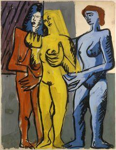 "amare-habeo: ""  Charles-Edouard Le Corbusier (Swiss-French, 1887 - 1965) Three nudes (Trois nus féminins), N/D Gouache, 63 x 48 cm """