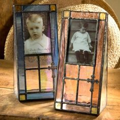 J. Devlin Pic 177 & Pic 178 Stained Glass Photo Frames With Cross Accent