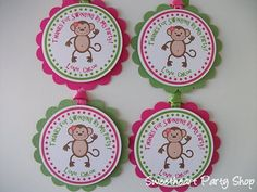 Monkey Birthday Party Favor Tags