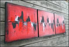 TRIO Peinture acrylique sur toile de lin Abstrait par DecArttoi, $150.00