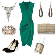 A luxe emerald green dress is complemented by gold accents and stunning diamond pavé jewelry.