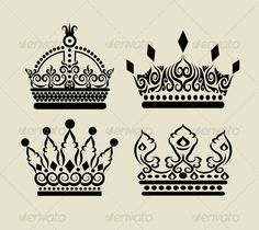 Crown Decorations  #GraphicRiver         4 Crown drawing with curl ornament decoration. Nice and smooth vector. Good use for your symbol, logo, sticker design, or any design you want. Easy to use or change color.