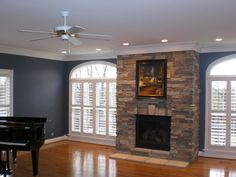 remodeled garage to family room with fireplace