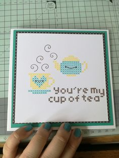 You're my cup of tea Waffle Flower card. Greetings, birthdays, thanks, just because. Teapot and teacup card.