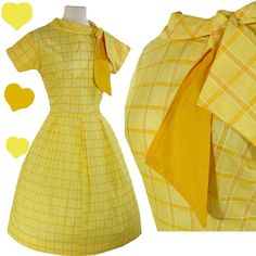 Vintage 50s YELLOW Plaid FULL SKIRT Day Dress S by pinupdresses, $110.00