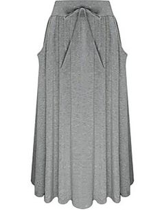 Women's+Solid+Black+/+Gray+Skirts,Simple+Maxi+–+CAD+$+20.84