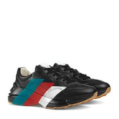 e396b5c09b4 Rhyton Sneaker aus Leder mit Web-Print Mens Trainers