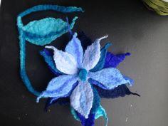 felted necklace / brooch / blue flower/ flower brooche / Felted Necklace /felted blue flower by RozalkaFeltAndWool on Etsy