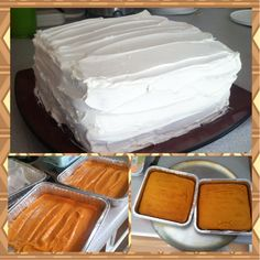 """ARE YOU KIDDING CAKE!  -one box of moist yellow cake mix  -three eggs (I used four) -one can of any pie mix (I used pumpkin) Preheat oven to 350.  I wanted a layered cake so I used two 8x8 pans and baked them for 25 min.  After letting them cool I """"iced"""" them with yummy cool whip!"""