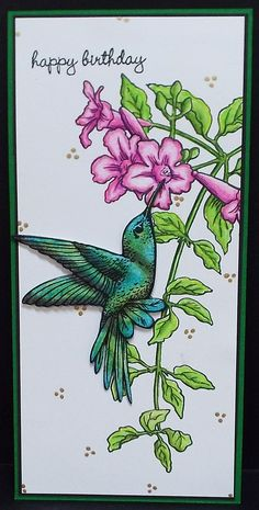 Stampendous Hummingbird Stamp set with Hummingbird die set. Happy Birthday stamp from Close to my Heart. Julie Makela