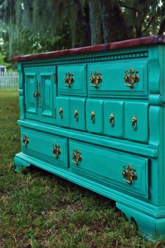 SOLD Teal Dresser/Buffet/Entertainment Center by ALovelyRecovery, Teal Furniture, Colorful Furniture, Repurposed Furniture, Rustic Furniture, Furniture Makeover, Painted Furniture, Teal Dresser, Diy Furniture Tutorials, Decorating On A Budget
