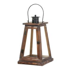 Let candlelight flood your living space in timeless style. This classic pine wood large candle lantern features a pyramid design and is topped with an oversized metal handle and roof. Candle not inclu