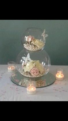 Super wedding table centerpieces fishbowl centre pieces ideas Super wedding table centerpieces f Table Centerpieces, Wedding Centerpieces, Wedding Table, Wedding Decorations, Table Decorations, Anniversary Centerpieces, Centerpiece Ideas, Fish Bowl Centerpiece Wedding, Cinderella Centerpiece
