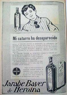"""""""Mi catarro ha desparecido"""". Campaña publicitaria de Bayer de 1912 y su Jarabe Bayer de Heroína para la tos."""