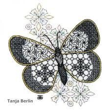 Small Blackwork Butterfly Embroidery Kit - a Hand Embroidery Design as an Alternative to Cross-stitch. Embroidery Online, Butterfly Embroidery, Embroidery Transfers, Hand Embroidery Stitches, Hand Embroidery Designs, Embroidery Techniques, Ribbon Embroidery, Embroidery Art, Cross Stitch Embroidery