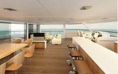 Upon first glance, the flybridge interior looks like it could be a chic oceanfront apartment