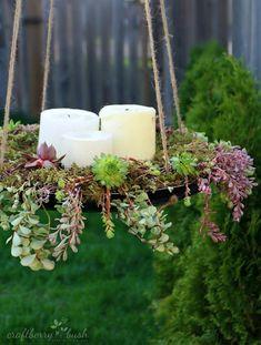 Summer Succulent DIY Chandelier | AllFreeHolidayCrafts.com