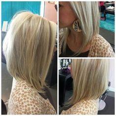 Straight Angled Long Bob Hair Cut - Medium Hairstyle Ideas