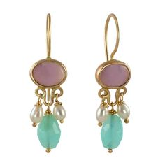 Holley Lavender Chalcedony, Blue Peruvian Opal, Pearls, & Recycled 14k Gold Earrings by Christine Mighion Jewelry