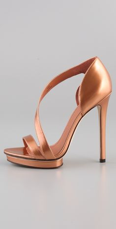 B Brian Atwood Consort High Heel Sandals in Gold (bronze) | Lyst