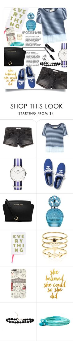 """Black and Blue (Not-So-Basic: Black Chokers)"" by kiki11301 ❤ liked on Polyvore featuring Abercrombie & Fitch, Current/Elliott, Daniel Wellington, Keds, Michael Kors, Marc Jacobs, Accessorize, Harrods, Chic Buds and Bobbi Brown Cosmetics"