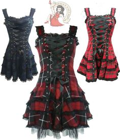 Gorgeous soft tartan fabric mini dress with wide black satin corset ties to front. Elasticated panel to back for perfect fit. Black lace and eyelet detail. Part of the Hell Bunny 'Black' collection. Punk Dress, Gothic Dress, Gothic Outfits, Mode Steampunk, Steampunk Fashion, Gothic Steampunk, Victorian Gothic, Gothic Lolita, Mode Alternative
