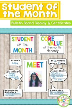 Recognize students for their efforts with this Student of the Month Bulletin Board Display which also includes the option for Student of the Week. It comes with both color and black & white options. It includes certificates for students. Classroom Routines, Classroom Procedures, Classroom Jobs, Classroom Management, Student Of The Month, Good Student, Student Work, 5th Grade Activities, Back To School Activities