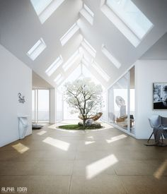 Unique Home with Skylights and Central Courtyard by Alpha Idea