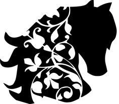 Stencil Schablone Pferdekopf mit Ranke