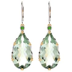 One-of-a-kind Michael Valitutti Amethyst and Chrome Diopside Drop Earrings