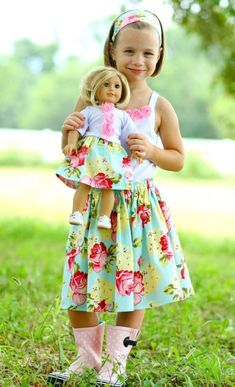 Sew along with Mom! Little Girl Skirt and AMERICAN GIRL Doll PDF Pattern, Beginner Pattern