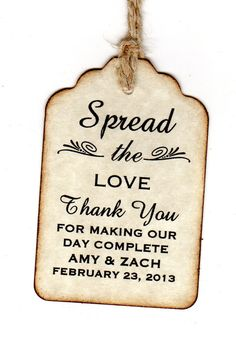 50 Personalized Spread The Love Wedding Favor Tags by luvs2create2