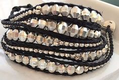Chan Luu - Silver Bead Graduated Wrap Bracelet on Natural Black Leather (RARE) - http://designerjewelrygalleria.com/chan-luu/chan-luu-silver-bead-graduated-wrap-bracelet-on-natural-black-leather-rare/