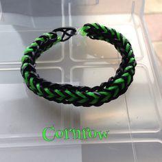 Black & green Cornrow bracelet, made on 2 forks