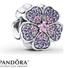 Pandora pink and purple primrose charm New pandora charm Pandora Jewelry
