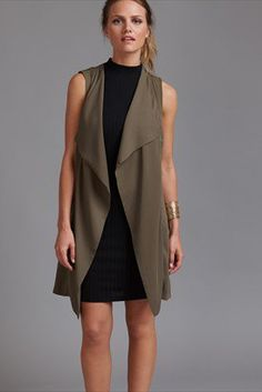 Long Waterfall Vest with Buckle