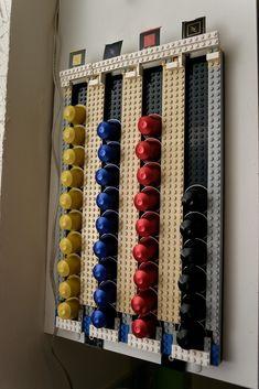 do I need this for my Nepresso? Lego Storage, Diy Storage, Diy Organization, Coffee Pod Storage, Coffee Pod Holder, Deco Lego, Coffee Bar Home, Lego Room, Lego Projects