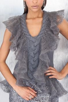 Ruffle Trim Vest pattern by Shiri Mor
